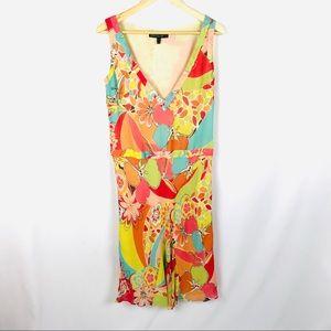 Lafayette 148 sleeveless silk floral 70's dress